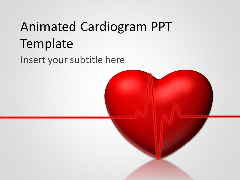 پاورپوینت متحرک قالب پزشکی که گرافیک نوار قلب+تپش قلب 2