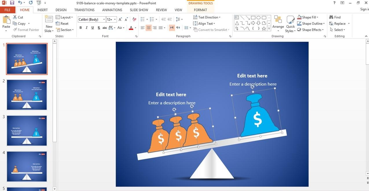 کلیپ آرت  clip art با موضوع کیسه پول و ترازو برای ارائه مطالب اقتصادی و حسابداری